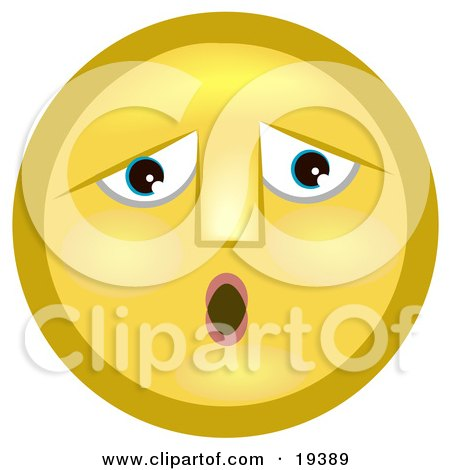 Clipart Illustration of a Sad, Let Down Yellow Smiley Face by AtStockIllustration
