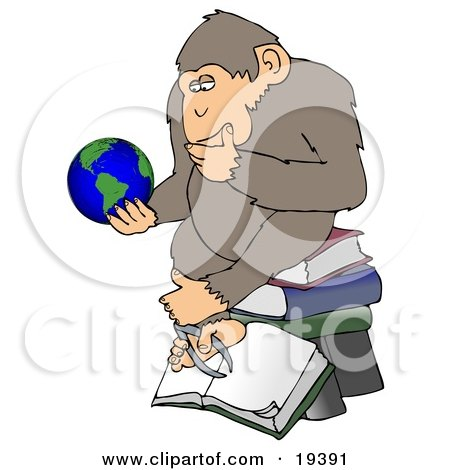 Clipart Illustration Of A Monkey In Thought, Sitting On Top Of A Stack Of Books And Staring At Planet Earth by Dennis Cox