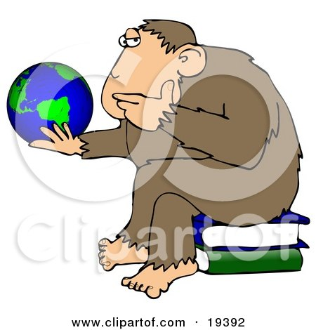 Clipart Illustration Of A Chimp In Thought, Sitting On Top Of A Stack Of Books And Staring At A Globe, Pondering The Universe by djart