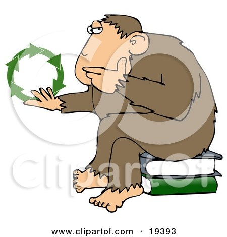 Clipart Illustration Of A Chimpanzee In Thought, Sitting On Top Of A Stack Of Books, Rubbing His Chin And Staring At Green Recycle Arrows by djart