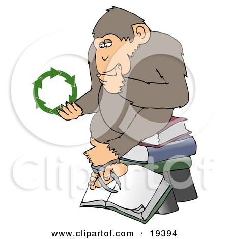 An Environmental Chimpanzee In Thought, Rubbing His Chin And Sitting On Top Of A Stack Of Books, While Looking At Green Recycling Arrows Posters, Art Prints
