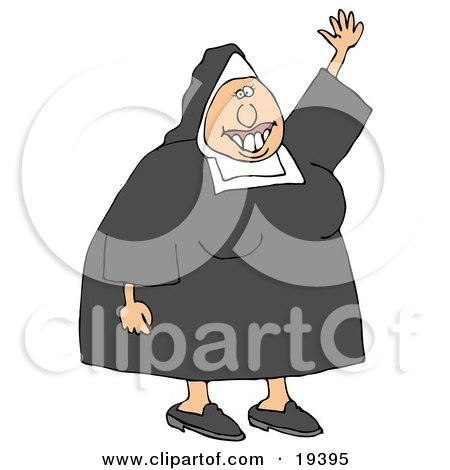 Clipart Illustration of a Friendly White Lady Nun In Uniform, Waving Hello by djart