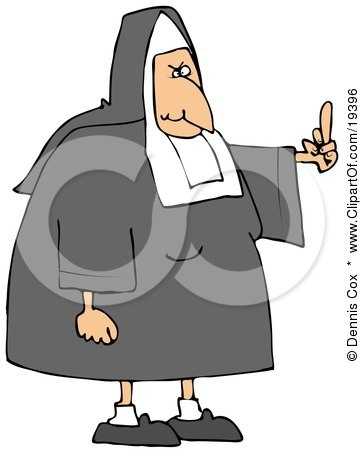 Clipart Illustration of a White Lady Nun In Uniform, Flipping Someone Off For Making Fun Of Her by djart