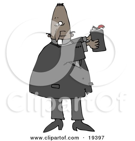 Clipart Illustration of a Black Male Priest Hodling Up A Bible And Reading From Its Text While Preaching In Church by djart
