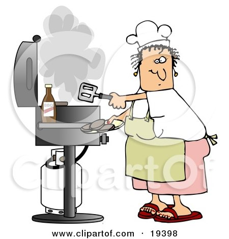 Clipart Illustration of a White Lady Wearing A White Chefs Hat, Yellow Apron, White T Shirt, Pink Shorts And Red Sandals, Holding A Spatula And Removing Cooked Hamburger Patties From The Gas Grill by Dennis Cox
