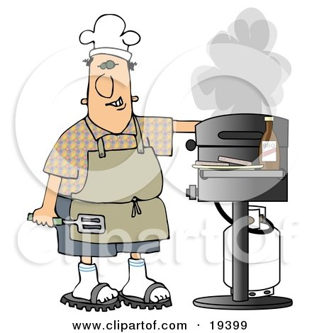 Clipart Illustration of a White Guy Wearing Sandals, An Apron And A White Chefs Hat, Holding A Spatula, Cooking Hamburger Patties On A Gas Grill by djart