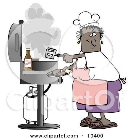 Clipart Illustration of a Black Lady Wearing A White Chefs Hat, Pink Apron, White T Shirt, Purple Shorts And Brown Sandals, Holding A Spatula And Removing Cooked Hamburger Patties From The Gas Grill by djart