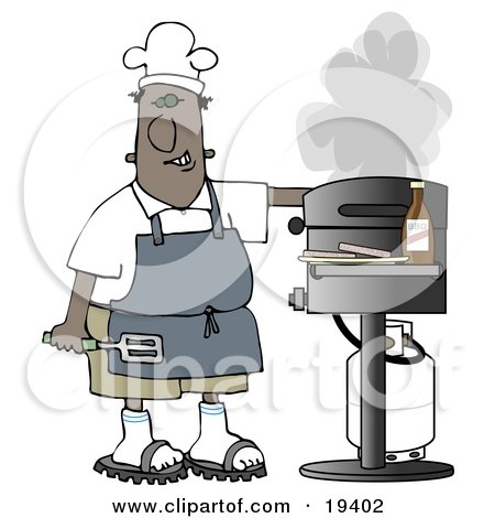 Clipart Illustration of a Black Guy Wearing A Chefs Hat And Apron, Holding A Spatula And Tending To The Barbecue At A Picnic by djart