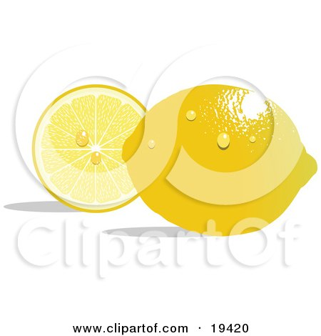 Clipart Illustration of a Waxy Whole Ripe Yellow Lemon With Waterdrops, Reflecting Light And Resting In Front Of A Juicy Sliced Lemon by Vitmary Rodriguez