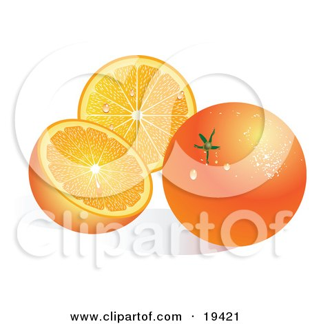 Clipart Illustration of a Waxy Whole Ripe Orange Fruit With Waterdrops, Resting In Front Of A Halved Orange by Vitmary Rodriguez
