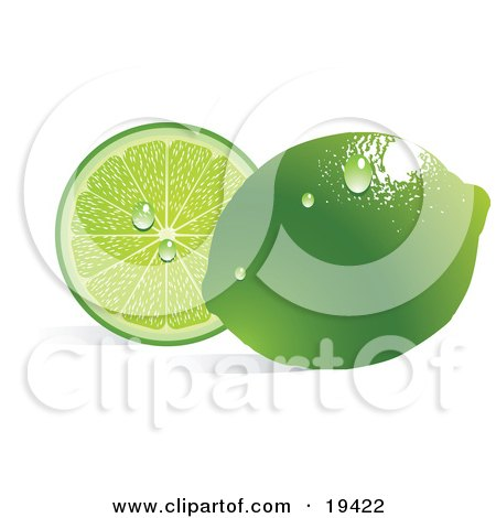 Clipart Illustration of a Waxy Whole Ripe Green Lime With Waterdrops, Reflecting Light And Resting In Front Of A Juicy Sliced Lime by Vitmary Rodriguez