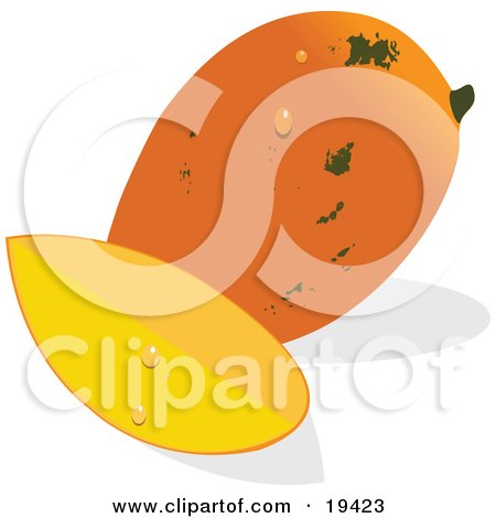 Clipart Illustration of a Whole And Ripe Orange Mango With Green Speckles And Water Drops, Sitting Beside A Slice Of Mango by Vitmary Rodriguez