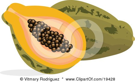 Clipart Illustration of a Cut And Halved Pice Of Payapa With Seeds In The Center, Resting Against A Whole Pawpaw Fruit by Vitmary Rodriguez
