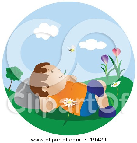Clipart Illustration of a Happy Little Boy Lying in Flowers in the Grass in a Park, Chewing on Grass and Watching a Bee Fly Past on a Pretty Spring Day by Vitmary Rodriguez