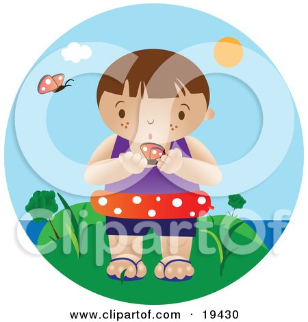Curious Little Boy Wearing An Inner Tube And Holding A Butterfly While Standing Near The Beach On A Hot Summer Day Posters, Art Prints