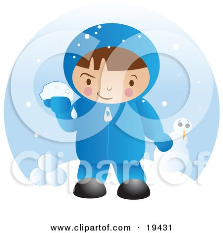 Clipart Illustration of a Little Boy In Winter Clothing, Up To Mischief And Preparing To Throw Snowballs After Making A Snowman On A Winter Day by Vitmary Rodriguez