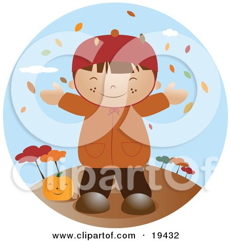 Clipart Illustration of a Happy Little Boy Wearing A Coat, Smiling And Holding His Arms Out While Autumn Leaves Fall Down From The Trees And Standing By A Pumpkin On A Breezy Fall Day by Vitmary Rodriguez