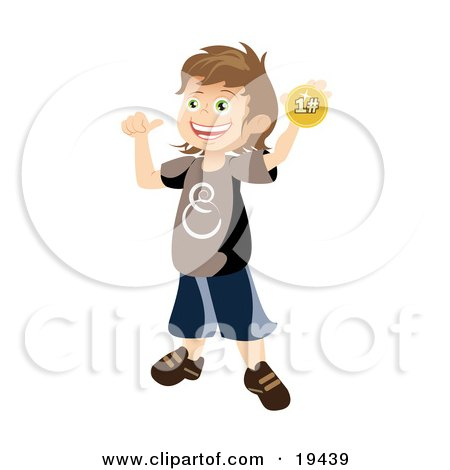 Clipart Illustration of a Proud School Boy Holding Up And Showing Off His First Place Ribbon After Winning A Contest by Vitmary Rodriguez