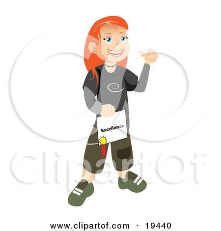 Clipart Illustration of a Happy And Proud Skater School Girl With Red Hair, Smiling And Holding Her Certificate Of Excellence For Honor Roll by Vitmary Rodriguez