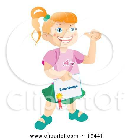 Clipart Illustration of a Happy And Proud Bright School Girl Holding A Certificate Of Excellence From Her Teacher by Vitmary Rodriguez