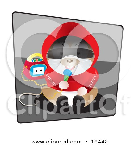 Clipart Illustration of a Silly Humanlike Hamster In Clothes, Sitting And Singing Into A Microphone With A Boombox by Vitmary Rodriguez