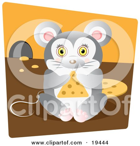 Cute Chubby Mouse Nibbling On A Triangle Slice Of Swiss Cheese Inside His Mouse Hole Posters, Art Prints