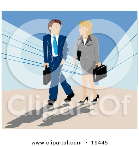 Clipart Illustration of a Caucasian Man And Woman Carrying Briefcases And Chatting While On Their Way Into A Building by Vitmary Rodriguez