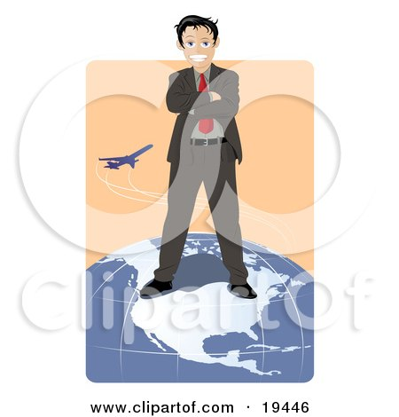 Clipart Illustration of a Successful Businessman Standing On Top Of The North American Continent On A Globe While A Plane Flies In The Background by Vitmary Rodriguez