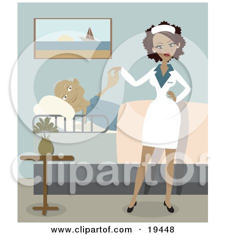 Clipart Illustration of a Sexy Ethnic Nurse Lady In Uniform, Standing Beside A Pleased Geriatric Senior Man That Is Lying In A Bed And Checking The Young Lady Out In A Retirement Home by Vitmary Rodriguez