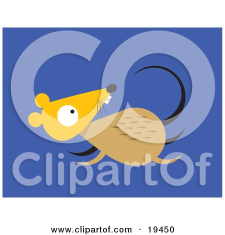 Clipart Illustration of a Scared Little Brown and Yellow Mouse Running For its Life by Venki Art