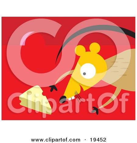 Clipart Illustration of an Excited Mouse Inside A Mouse Hole, Reaching For A Slice Of Swiss Cheese by Venki Art
