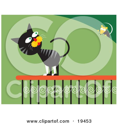 Frisky Black And Gray Cat On A Porch Railing, Looking At A Mouse On A Bush Posters, Art Prints
