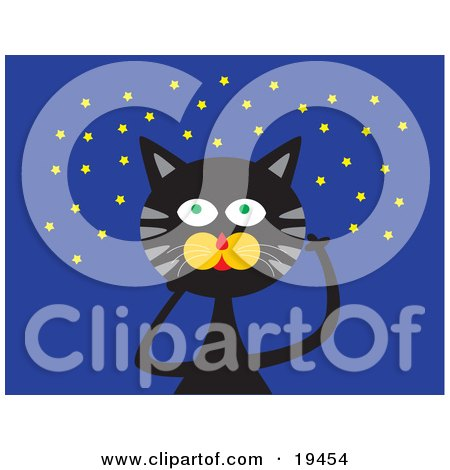 Clipart Illustration of a Black Cat With Green Eyes And Gray Stripes, Pointin Up At A Starry Night Sky by Venki Art