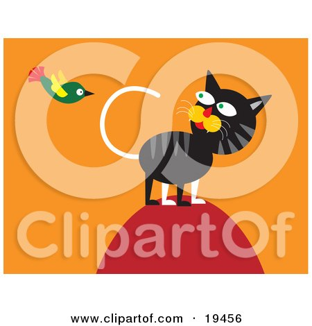 Clipart Illustration of a Hunting Cat On Top Of A Hill, Watching A Green Bird Flying Around by Venki Art