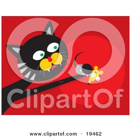 Black And Gray Cat With Fast Reflexes, Reaching Out And Grasping A Scared Mouse In His Paw Posters, Art Prints