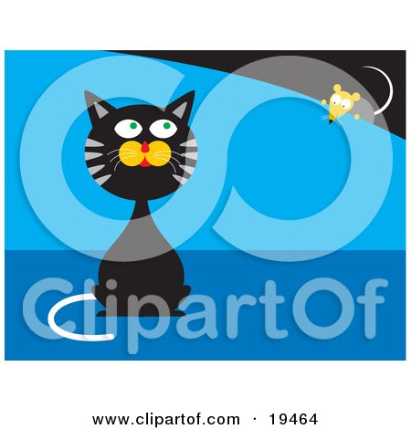 Black And Gray Cat Sitting And Pretending He Doesn't Know A Mouse Is Behind Him While The Mouse Creeps Forward Posters, Art Prints