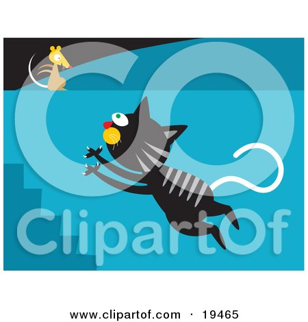 Clipart Illustration of a Black Cat With Gray Stripes Leaping Up A Flight Of Stairs Towards A Mouse On A Wall by Venki Art