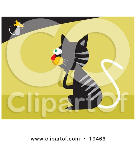 Black Cat With Gray Stripes Pondering On How To Catch A Fast Little Mouse Posters, Art Prints