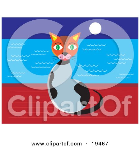 Clipart Illustration of a Cute Green Eyed Calico Cat Sitting On A Wall At Night With The Moon Shining Over The Ocean Waters by Venki Art