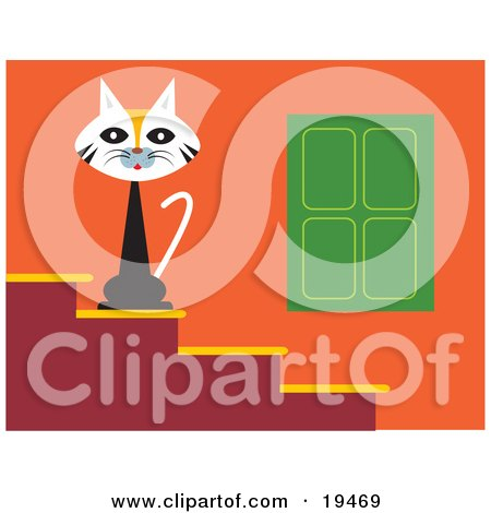 Clipart Illustration of a Cute Calico Cat Seated On Steps Outside A House, Guarding Its Territory by Venki Art