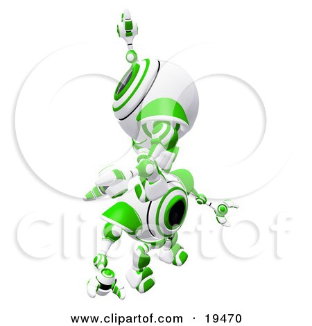 Clipart Illustration of a Green And White Spycam Robot Climbing On Top Of Another To Reach A Goal, Symbolizing Success, Achievement, Ambition And Teamwork by Leo Blanchette