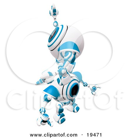 Clipart Illustration of a Blue And White Spycam Robot Climbing On Top Of Another To Reach A Goal, Symbolizing Success, Achievement, Ambition And Teamwork by Leo Blanchette