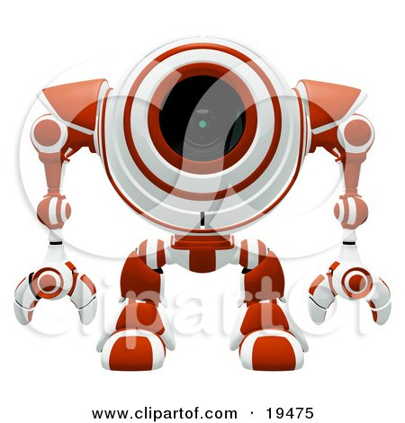 Clipart Illustration of a Watching Red And White Spybot Standing And Facing Front, Alert For Trouble by Leo Blanchette