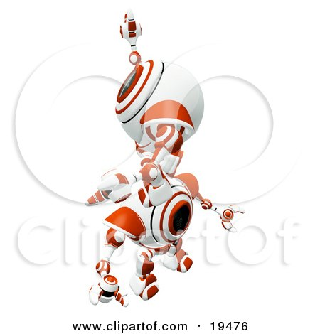 Clipart Illustration of a Red And White Spycam Robot Climbing On Top Of Another To Reach A Goal, Symbolizing Success, Achievement, Ambition And Teamwork by Leo Blanchette