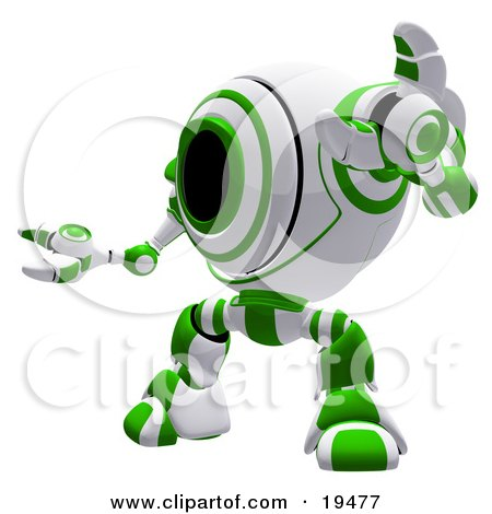 Clipart Illustration of a Green And White Security Webcam Robot Standing In A Defensive Pose, Symbolizing, Defense, Protection And Security by Leo Blanchette