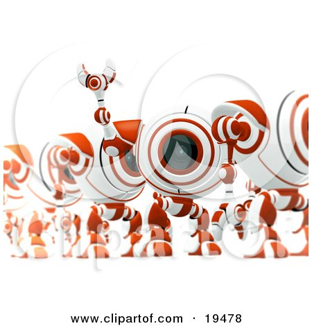 Clipart Illustration of an Excited Red And White Security Spybot Standing In Line And Waving by Leo Blanchette