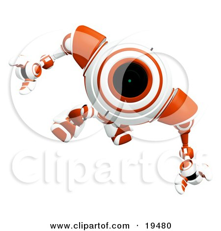 Clipart Illustration Of A Wondering Red And White Security Webcam Robot Looking Upwards