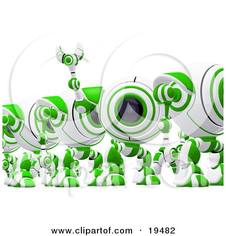 Clipart Illustration of a Distracted Green And White Soldier Spycam Standing In Line And Waving by Leo Blanchette