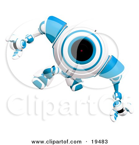 Clipart Illustration of a Curious Blue And White Webcam Robot Looking Upwards by Leo Blanchette