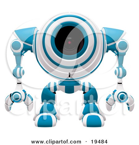 Clipart Illustration of a Blue And White Spybot Standing And Facing Front, Alert And Watching Out For Trouble by Leo Blanchette